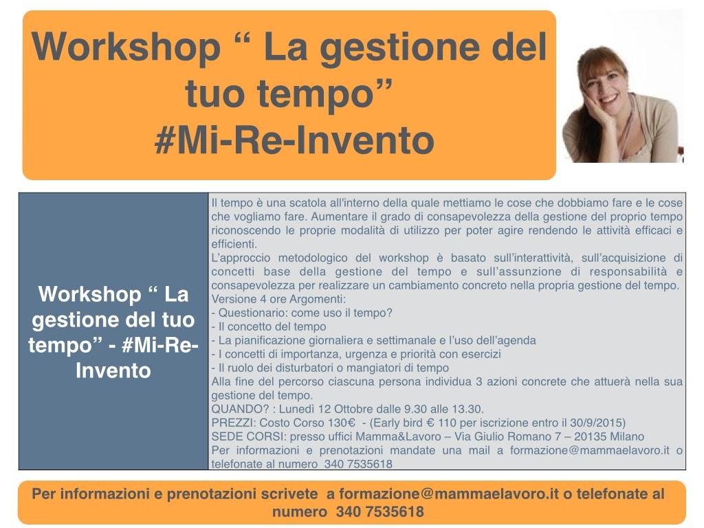 "Workshop "" La gestione del tuo tempo"" .001"