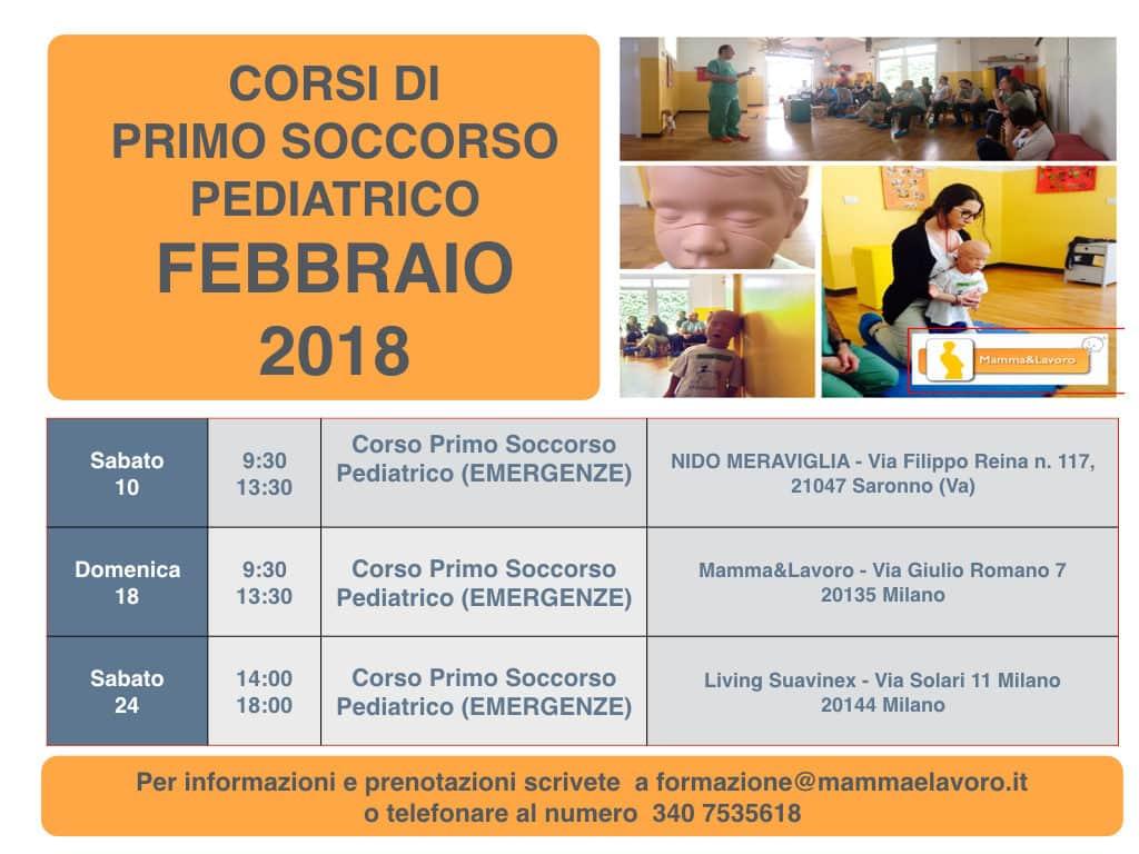Calendario Corsi primo soccorso pediatrico disostruzione locandina Febbraio 2018