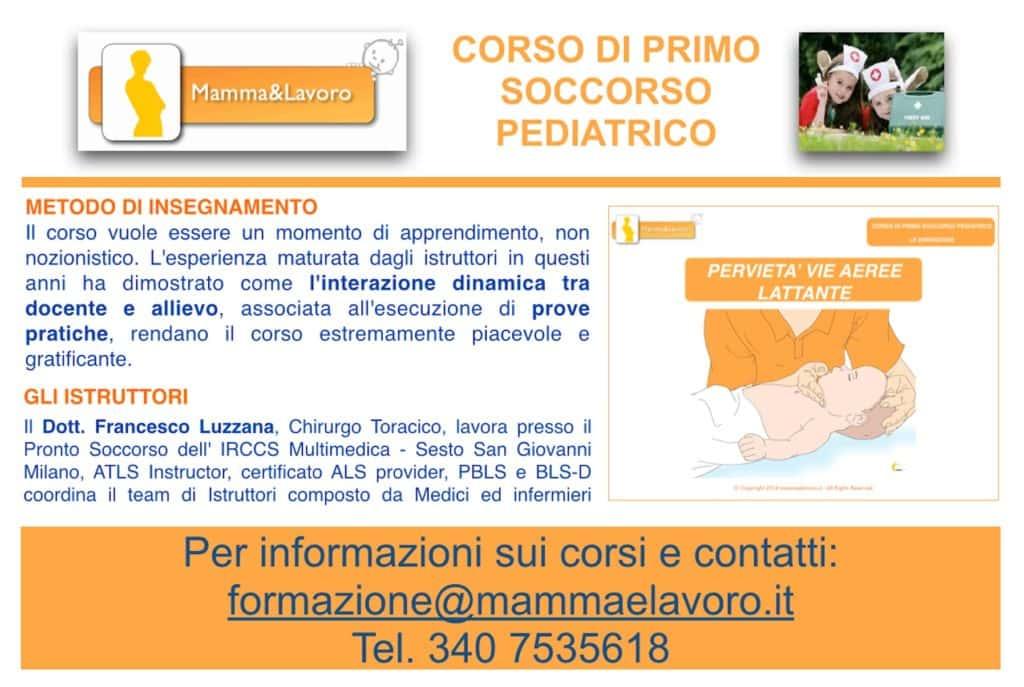 Corso Primo Soccorso pediatrico baby sitter rear